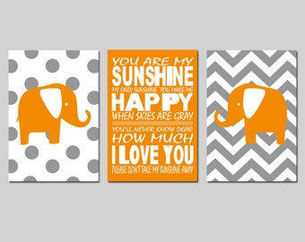 Orange Grey Gray Nursery Decor Art Trio - Chevron Polka Dot Elephants, You Are My Sunshine - Set of Three 11x17 Prints - CHOOSE YOUR COLORS