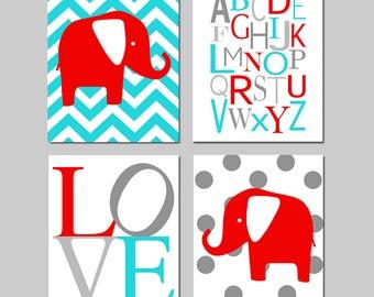 Elephant Nursery Art Quad - Set of Four 8x10 Prints - Chevron Elephant, Modern Alphabet, Love, Polka Dot Elephant - CHOOSE YOUR COLORS