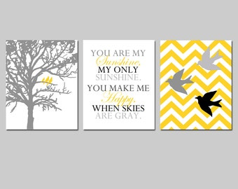 Yellow Gray Nursery Art - Bird Family Trio - Set of Three 11x14 Prints - Chevron Birds, You Are My Sunshine Quote, Three Birds in a Tree