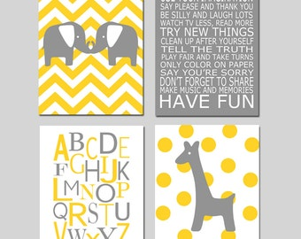 Elephant Giraffe Nursery Art - Set of Four 8x10 Prints - Chevron Elephants, Playroom Rules, Alphabet, Polka Dot Giraffe - CHOOSE YOUR COLORS