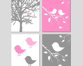 Girl Baby Bird Tree Branch Quad - Set of Four 8x10 Prints - Nursery or Kids Wall Art - CHOOSE YOUR COLORS - Shown in Pink, Gray, and More
