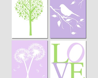 Purple Green Nursery Art Baby Girl Quad - Tree Dot, Bird on a Branch, Dandelions, LOVE - Choose Your Colors - Set of Three 11x14 Prints