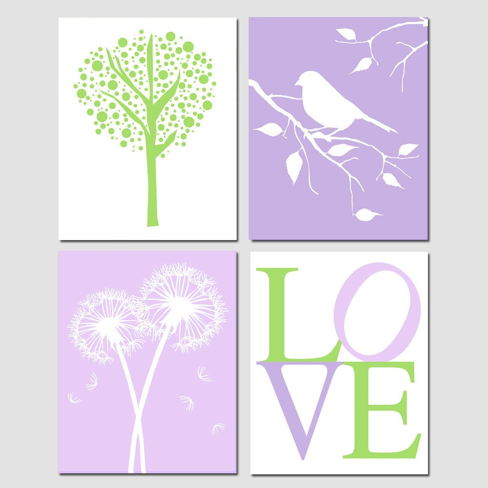 Purple Green Nursery Art Baby Girl Quad Tree Dot Bird On A