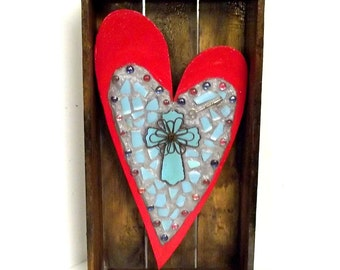 Red Heart and Turquoise Cross mosaic assemblage wall art sculpture
