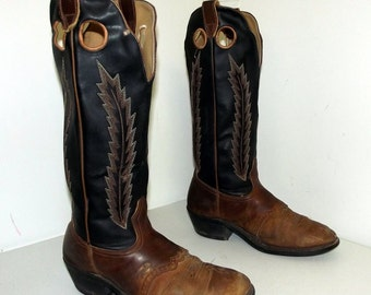 Tall Black and brown cowboy boots size 9.5 EEE or cowgirl size 11to 11.5 extra wide width