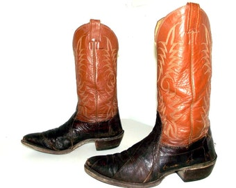 Eel Leather  Nocona brand Cowboy boots size 9.5 d or cowgirl size 11 - distressed