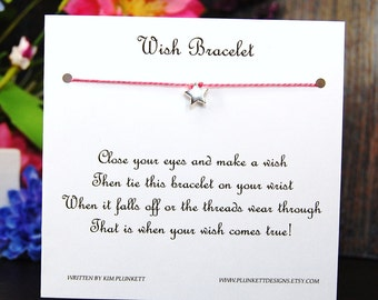 Sweet Little Star - Wish Bracelet - Shown In STRAWBERRY SMOOTHIE - Over 100 Different Colors Are Also Available