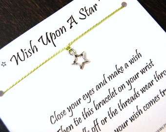 Wish Upon A Star - Open Star Charm - Wish Bracelet - Shown In SAGE - Over 100 Different Colors Are Also Available