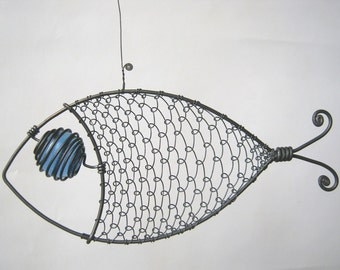 Another Blue - Eyed Wire Fish Sculpture