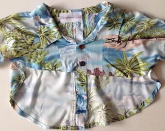 HANDMADE upcycled DOG SHIRT Hawaiian rayon print Tropical palm trees