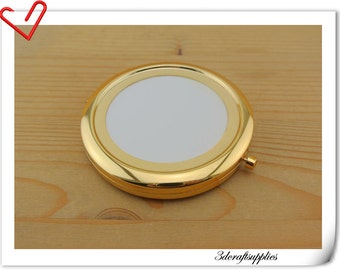 70mm blank gold  compact mirror  Pock compact mirror frame AC92