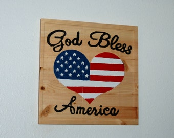 God Bless America - Hand painted wood carved heart - 13074