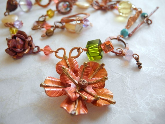 Copper Necklace Gemstone Coin Pearls  Swarovski Crystals Copper Flowers