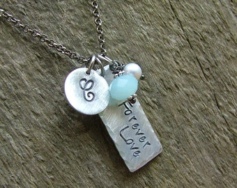 Forever Love Custom Hand Stamped Simple Initial Just Married Wedding Day Memory Necklace Peruvian Blue Quartz & Freshwater Pearl by MyBella