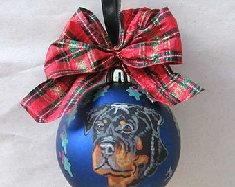 "Hand-Painted ROTTWEILER 3"" Christmas Ball Ornament GORGEOUS! Choose Blue or Silver Ball"