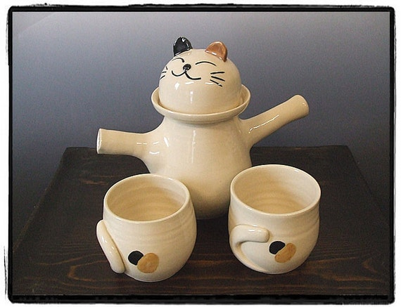 Cute Calico Cat Teapot and Teacup Set-Tea Set for Two