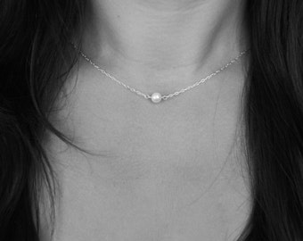 Single Pearl Sterling Silver Necklace - Solitaire Necklace - Freshwater Pearl Necklace