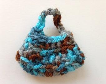 Handmade Barbie Clothes Purse Handbag Hobo Southwestern Crochet Turquoise Brown (S1818)