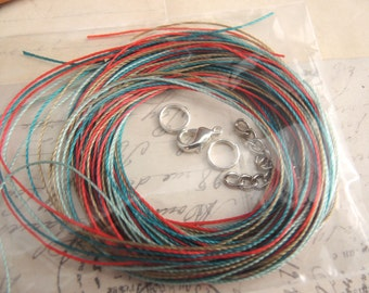 Khaki, Teal, Turquoise and Red Cord Kit for BRAIDS Tutorial DIY