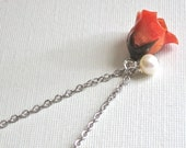 Real Orange Rosebud Necklace -  Natural Preserved,  Pearl, Sterling Silver