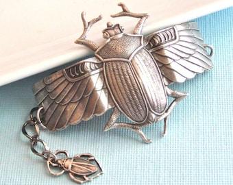 Silver Scarab Beetle Cuff Bracelet, Nature Jewelry