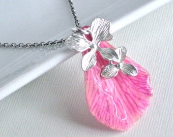 Real Orchid Petal Necklace - Orchid Pink, Sterling Silver, Real Flower Jewelry