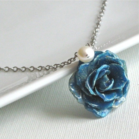 Real Flower Jewelry - Blue Preserved Rose Necklace, Sterling Silver, Natural, Pearl