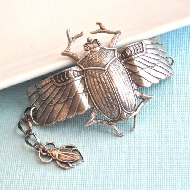 Silver Scarab Beetle Cuff Bracelet Nature Jewelry