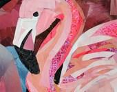 Flamingo, 7x5 inch ORIGINAL COLLAGE ART