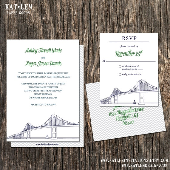 Rhode Island Wedding Invitation Printed: Newport Rhode Island Wedding Invitation Newport Rhode Island