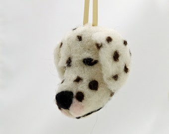 Needle Felted Dalmatian Dog Hanging Ornament