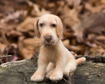 Needle Felted Soft Sculpture Dog Yellow Labrador Retriever Wool