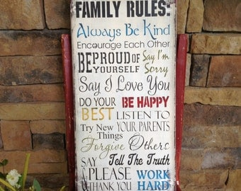Family rules sign, great gift, personalize with your name at the top.