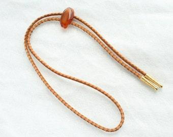 Orange Agate Bolo Tie Vintage Carnelian Rock Slide Round Leather Bola Tie