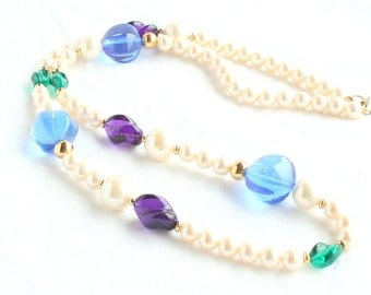 Pearl Glass Beaded Necklace Vintage Purple Blue Green Colorful Lucite Bead Faux Pearls