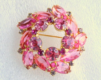 Pink Rhinestone Brooch Vintage Layered Domed Open Back Pin