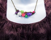 Summers Garden Full Bloom OOAK Botanical Necklace Dragonfly Lady Bug Bee