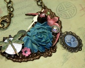 My Wish For You Assemblage Mixed Media Charm Necklace Statement Bid Style Enchanting Vintage Steampunk