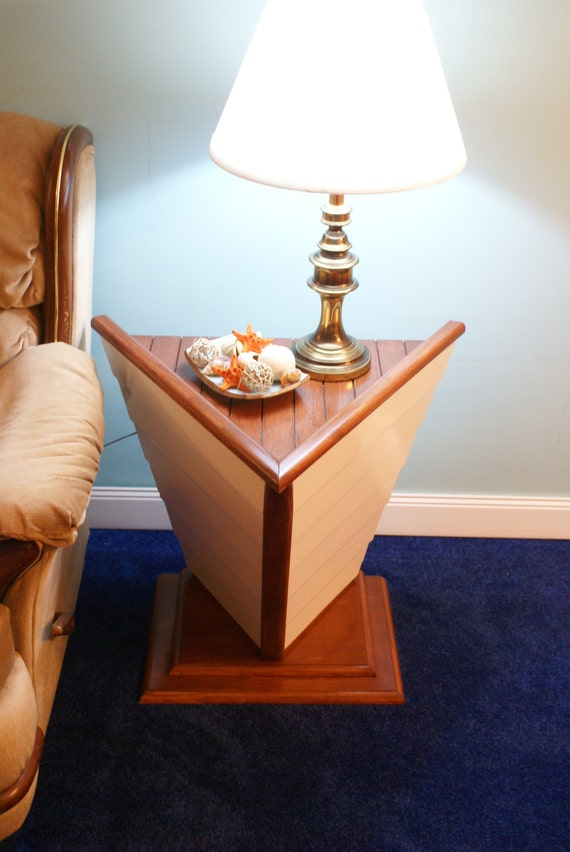 nautical boat shaped end table accent table nautical decor. Black Bedroom Furniture Sets. Home Design Ideas