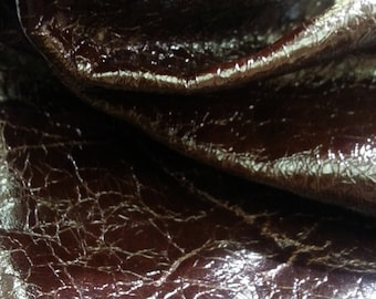 Rich dark  brown crackle lambskin leather - a 4 square foot hide
