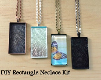 20pc...DIY Rectangle Pendant Tray Kit...Makes 20 Pendant Necklaces...Chains, Trays, and Glass...Mix and Match Colors.... 24mm x 48mm...RPT