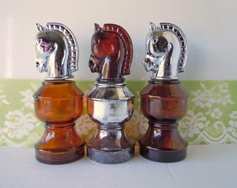 3 Vintage 1970s Avon Cologne Bottles Knights Chess Pieces After Shave Silver Amber Glass Horses