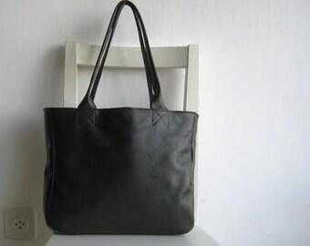Black Genuine  Leather Tote Shoulder Bag