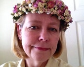 All-natural dried flower head wreath, crown or halo. Made to order. For your garden wedding.