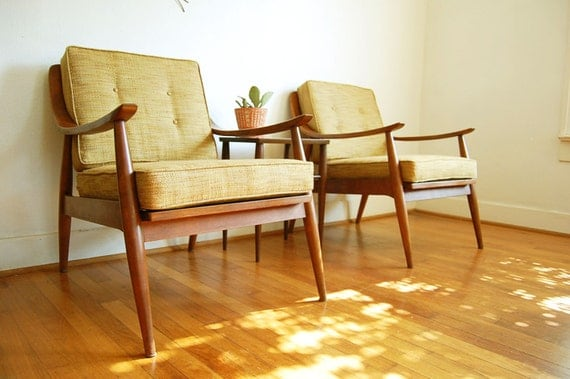 Vintage Wood Arm Chairs Mid Century Modern Slatted By