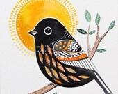Black Bird / Autumn / Sun / Home Decor/ Wall Art / Bird Art/ Organic ar/ Living room decor