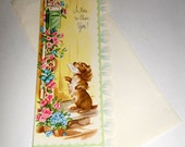 Vintage Cheer Up Card - Dog With Flowers - Ruffled Edge Card - Card With Envelope - Unused Greeting Card - Old Greeting Card - Get Well Card