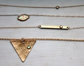 triangle necklace, gold, brass, hammered, opal // OPAL SLICE