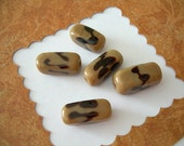 5 Vintage Glass Beads Czechoslovakia Animal Print Coffee Brown