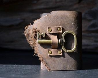 MiniBook A8 Lock & Key Vintage Brown leather